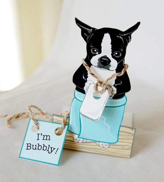 Bathtime Boston Terrier - Desk Decor Paper Doll