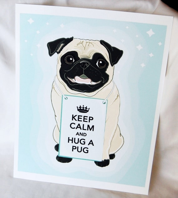 Smiling Pug on Starry Blue Background - Eco-friendly 8x10 Print