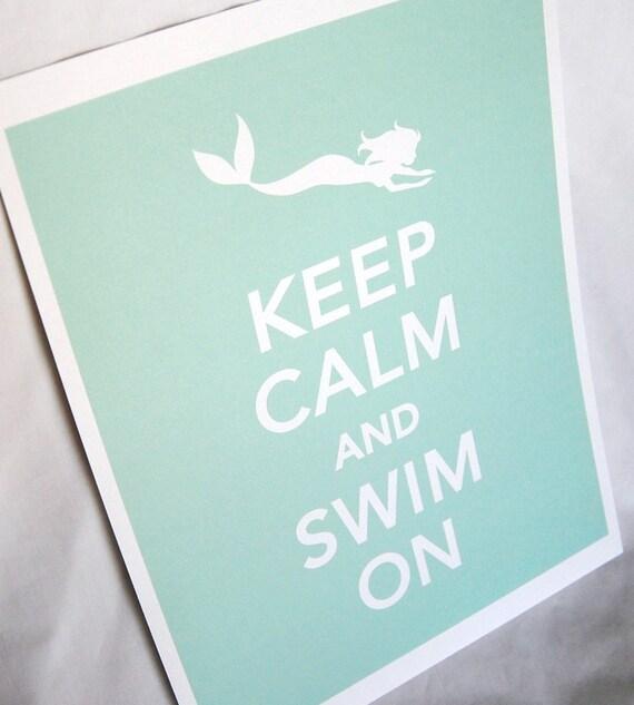Mermaid Keep Calm Print in Seafoam - 8x10 Size - Eco-friendly Print