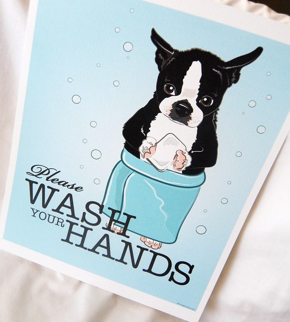 Wash Your Hands Boston Terrier - 8x10 Eco-friendly Print