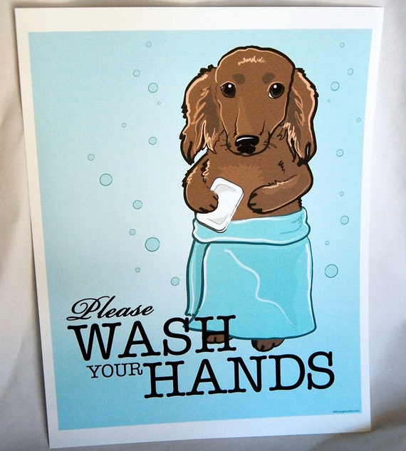 Wash Your Hands Dachshund - 8x10 Eco-friendly Print