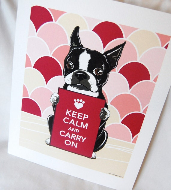 Keep Calm Boston Terrier with Pink Scaled Background - 7x9 Eco-friendly Print