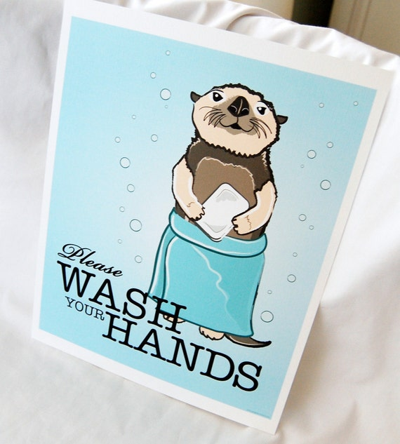 Wash Your Hands Otter - 8x10 Eco-friendly Print