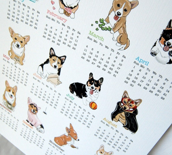 Corgi Calendar Print - Eco-Friendly 8x10 Size