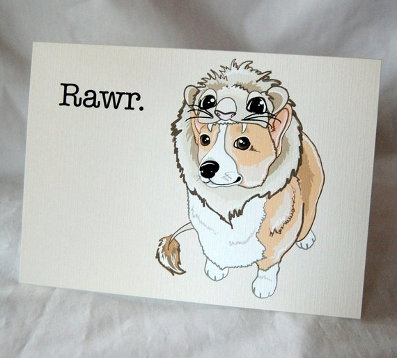 Corgi Lion Greeting Card