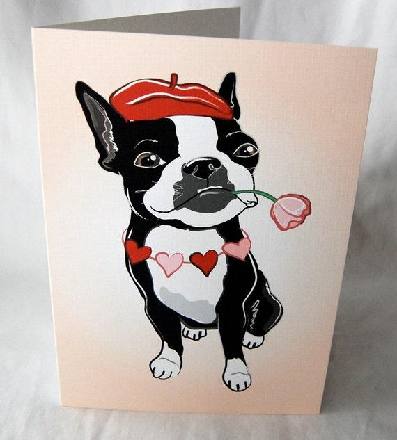 Romantic Boston Terrier Greeting Card