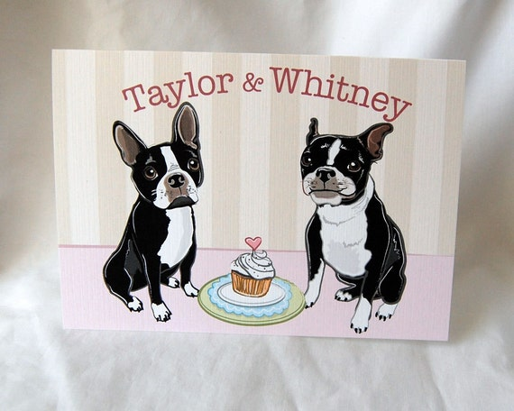 Bostons in Love Greeting Card - Customized with Your Names