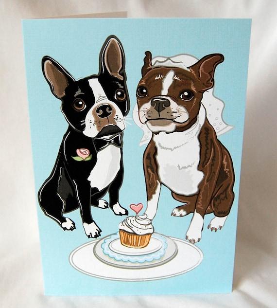 Wedding Boston Terriers - Greeting Card