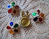 Vintage Gold color Metal Flower Button Covers Multi Color Stones Set of FOUR  1980 Notions Free Ship USA