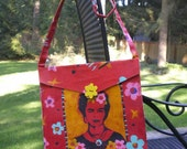 Frida Kahlo Painted Canvas Purse