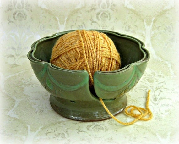 Yarn Bowl in Green Shades with Ruffled Split Rim and Hand Carving