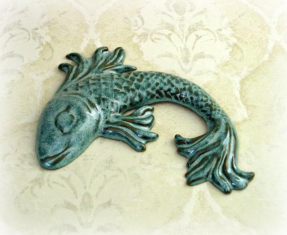 Decorative Fish Wall Art in Speckled Aqua