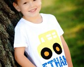 Boy Birthday Shirt, Wheels on the Bus Party, Bus Birthday Shirt, Transportation Theme Party, Back to School, Personalized Apparel