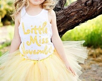 Little Miss November Shirt, November Birthday, November Birthstone, Made to Order, Topaz Birthstone, Girl Birthday Shirt, Birthday Shirt