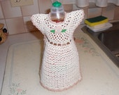 Crocheted Cream and Tan Dish Soap Bottle Dress
