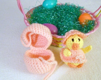 Peach Crocheted Easter Egg with Girl Duck