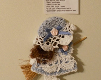 Blue and White Crocheted Kitchen Witch Broom Doll Fridgie Magnet