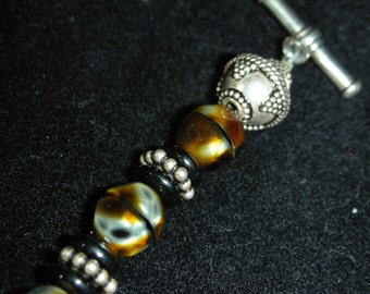 Brown Czech Glass\/Silver Necklace