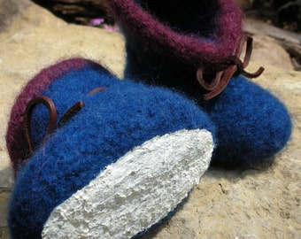 Navy Blue Child's Felted Slippers