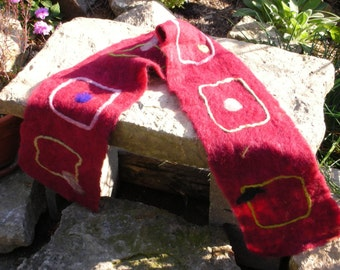 Red Felted Scarf with Squares