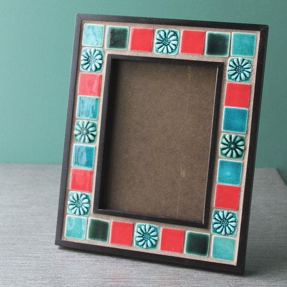 wood and porcelain photo frame