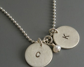 Initial Pendants with Petite Pearl
