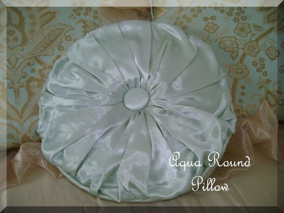 Aqua Round Pillow Large Covered Button By Sewbeautiful2