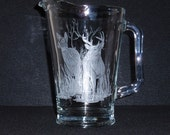 Etched Glass, Male female deer, Pitcher, Hand carved, glass, Home decor, kitchen, hunters, one of a kind, nature, woodsman