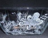 Etched Glass, Shark Seahorse Octopus Stingray Ocean Glass Bowl Hand carved Home decor