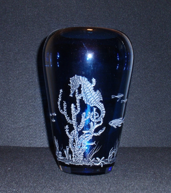 Sea horse, Ocean, Hand carved, glass, Home decor, Blue Vase, Gift