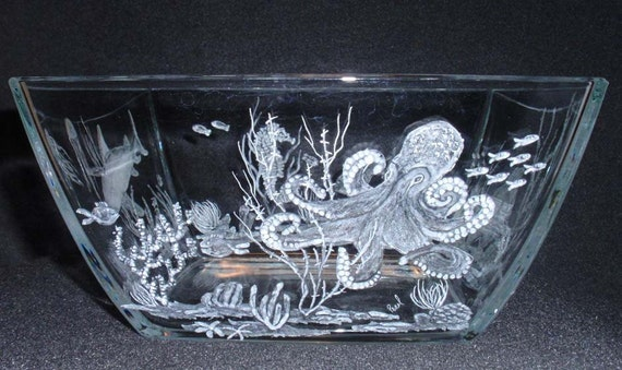 Etched Glass Shark Seahorse Octopus Stingray Ocean Glass Bowl Hand Carved Home Decor