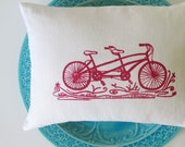Pillow Cover - Tandem Bicycle design - 12 x 16 inches - Choose your fabric and ink color - Accent Pillow