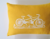 Pillow Cover Cushion Cover - Tandem Bicycle -  12 x 16 inches - Choose your fabric and ink color