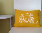 Pillow Cover - Cushion Cover - Bicycle with Basket - 12 x 16 inches - Choose your fabric and ink color