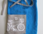 Apron - Linen Cafe Apron  - Peacock Blue - Natural Linen Pocket with Bicycle