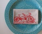 Cotton Kitchen Towel Tandem Bike - Choose your ink color