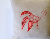 Pillow Cover - Cushion Cover - Red Fish - 16 x 16 inches - Choose your fabric and ink color