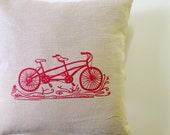 Pillow Cover - Cushion Cover - Tandem Bike design - 16 x 16 inches - Choose your fabric and ink color