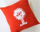 Decorative Pillow Cover - Cushion Cover Joy Tree - 16 x 16 inches - Choose your fabric and ink color