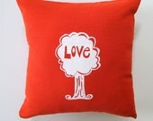 Pillow Cover - Cushion Cover - Love Tree design - 16 x 16 inches - Choose your fabric and ink color