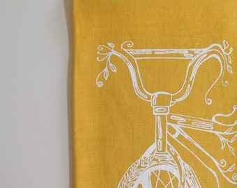 Linen Tea Towel with Bicycle - Choose your fabric and ink color