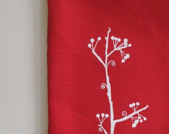 Linen Tea Towel - Berry Branch - Choose your fabric and ink color