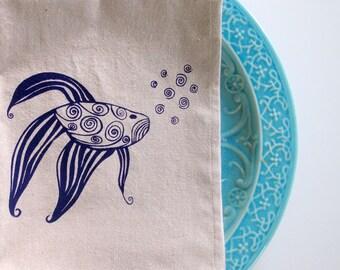 Cotton Kitchen Towel - Fish Kitchen Towel - Choose your ink color