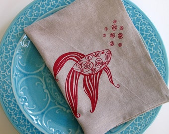 Linen Tea Towel - Fish Kitchen Towel - Choose your fabric and ink color