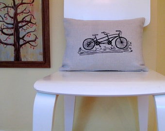 Pillow - Tandem Bicycle  - 12 x 16 inches - Choose your fabric and ink color - Accent Pillow