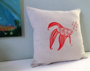 Pillow Cover - Red Fish - 16 x 16 inches - Choose your fabric and ink color - Accent Pillow