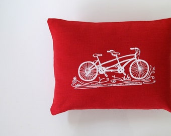 Pillow Cover - Cushion Cover - Tandem Bicycle design - 12 x 16 inches - Choose your fabric and ink color - Accent Pillow