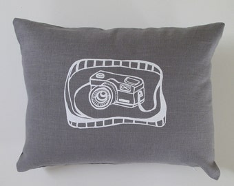 Pillow Cover - Camera - 12 x 16 inches - Choose your fabric and ink color - Accent Pillow