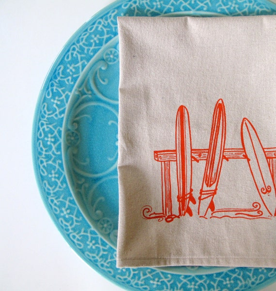 Cotton Kitchen Towel - Three Surfboards - Choose your ink color