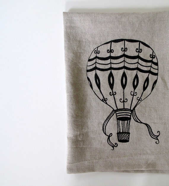 Linen Tea Towel - Vintage Hot Air Balloon design - Choose your fabric and ink color
